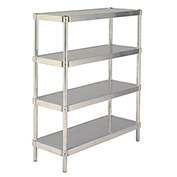 "PVI NS1860Y Aluminum Shelf, 400lbs Capacity, Yellow, 60"" x 18"" x 2-1/8"""