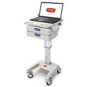 """Capsa Healthcare LX5 Non-Powered Laptop Cart, Two 3"""" Drawers, 45 lbs. Weight Capacity"""