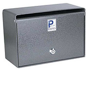 "Protex Wall Mounted Depository Drop Box  SDB-200 with Tubular Lock - 10""W x 5""D x 6-3/4""H, Gray"