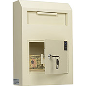 "Protex Wall-Mount Bulk Item Depository Drop Box WDS-150 - 10""W x 4-1/4""D x 15""H, Beige"
