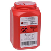 Post Medical 1 Quart Leak-tight Sharps Container with Locking Screw Cap, Red, 24/CS