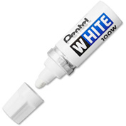 Pentel® Felt Tip White Marker, Broad Point, White Ink
