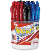 Pentel® Wow! Ballpoint Retractable Pen Display Box, Medium, Black/Blue/Red Ink, 36/Display Box
