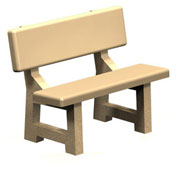 "Concrete Park Bench 44"" - Tan"