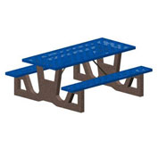 "96"" Gray Concrete Table Frame w/ Blue Steel Mesh Seat & Top"