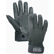Petzl® Cordex Belay/Rappel Gloves, Leather/Nylon, Black, Small, 1-Pair
