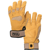 Petzl® Cordex+ Belay/Rappel Gloves, Leather/Nylon, Tan, Small, 1-Pair