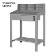 "36""W x 30""D Open Steel Shop Desk with Two Drawers - Gray"