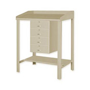 "36""W x 30""D Open Steel Shop Desk with Four Drawers - Putty"