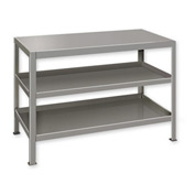 "Heavy Duty Machine Table w/ 3 Shelves - 30""W x 18""D Gray"