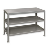 "Heavy Duty Machine Table w/ 3 Shelves - 48""W x 18""D Gray"