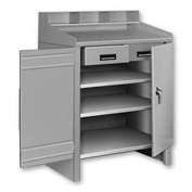 2 Shelf Cabinet Shop Desk w/ 1 Drawer Gray