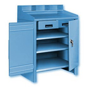 2 Shelf Cabinet Shop Desk w/ 1 Drawer Blue