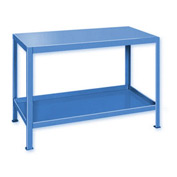 "Heavy Duty Machine Table w/ 2 Shelves - 36""W x 24""D Blue"