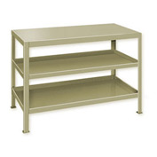 "Heavy Duty Machine Table w/ 3 Shelves - 48""W x 24""D Putty"