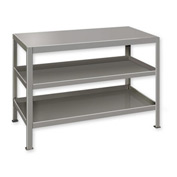 "Heavy Duty Machine Table w/ 3 Shelves - 60""W x 24""D Gray"