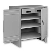 3 Shelf Cabinet Shop Desk w/ 2 Drawers Gray