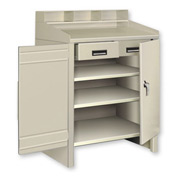 3 Shelf Cabinet Shop Desk w/ 2 Drawers Putty