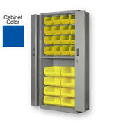 "Pucel BiFold Door Bin Cabinet BDSC-3678-18 - 36""W x 18""D x 78""H Blue With 24 Yellow Bins"
