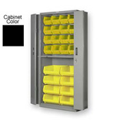 "Pucel BiFold Door Bin Cabinet BDSC-3678-24- 36""W x 24""D x 78""H Black With 24 Yellow Bins"