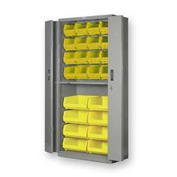 "Pucel BiFold Door Bin Cabinet BDSC-3678-24 - 36""W x 24""D x 78""H Gray With 24 Yellow Bins"