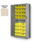 "Pucel BiFold Door Bin Cabinet BDSC-3678-24 - 36""W x 24""D x 78""H Putty With 24 Yellow Bins"
