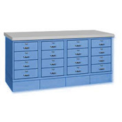 Drawer Base Bench - Steel Top Blue