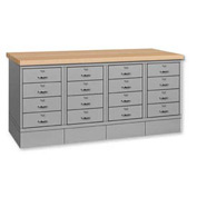 Drawer Base Bench -Ash Square Edge Top Gray