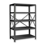 "Pucel™ Shelving Unit, 42""W x 72""H x 18""D, 5 Levels, 14 GA Shelves, 10 GA Posts, Black"
