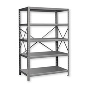 "Pucel™ Shelving Unit, 42""W x 72""H x 18""D, 5 Levels, 14 GA Shelves, 10 GA Posts, Gray"