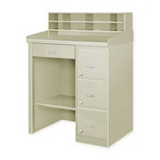 Single Pedestal Shop Desk w/ Filing Cabinet Putty