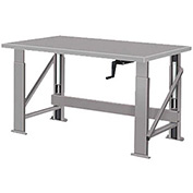"Manual Hydraulic Bench w/ Steel Top - 72""W x 34""D Gray"