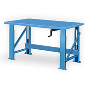 "Manual Hydraulic Bench w/ Steel Top - 72""W x 34""D Blue"