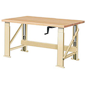 "Manual Hydraulic Bench w/ Wood Top - 60""W x 30""D Putty"