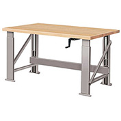 "Manual Hydraulic Bench w/ Wood Top - 72""W x 30""D Gray"