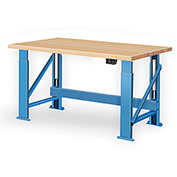 "Electric Hydraulic Bench w/ Wood Top - 96""W x 30""D Blue"