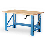 "Manual Hydraulic Bench w/ Wood Top - 60""W x 36""D Blue"