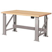 "Electric Hydraulic Bench w/ Wood Top - 96""W x 36""D Gray"