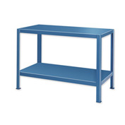 "Extra Heavy Duty Work Table w/ 2 Shelves - 48""W x 24""D Blue"