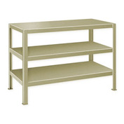 "Extra Heavy Duty Work Table w/ 3 Shelves - 48""W x 24""D Putty"