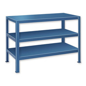 "Extra Heavy Duty Work Table w/ 3 Shelves - 72""W x 24""D Blue"