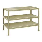 "Extra Heavy Duty Work Table w/ 3 Shelves - 72""W x 24""D Putty"