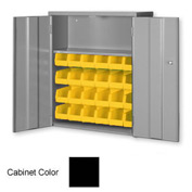 "Pucel Wall & Bench Bin Cabinet WBC-2630 - 26-1/2""W x 9""D x 30""H, Black With 24 Yellow Bins"