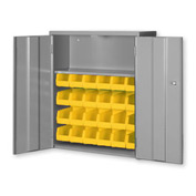 "Pucel Wall & Bench Bin Cabinet WBC-2630 - 26-1/2""W x 9""D x 30""H, Gray With 24 Yellow Bins"