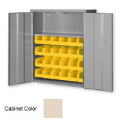 "Pucel Wall & Bench Bin Cabinet WBC-2630 - 26-1/2""W x 9""D x 30""H, Putty With 24 Yellow Bins"