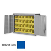 "Pucel Wall Bin Cabinet WC-3627 - 36""W x 14""D x 27""H - 36""W, Blue With 24 Yellow Bins"