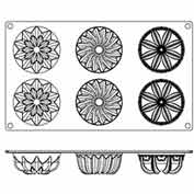 """Non-Stick Silcn Assorted Daisy Mold, 11-7/8""""L, 6-7/8""""W, 1-1/2""""H X 2-3/4"""" Diameter Openings-Min Qty 6"""