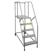 "P.W. Platforms 5 Step, 24""W x 21""D Steel Rolling Single Entry Platform - 5SWP2421GR"