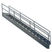 "P.W. Platforms 11 Step Steel Industrial Stairway, 36"" Step Width - IS36-77G"