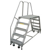 "P.W. Platforms 6 Step, 24""W x 63""D Steel Rolling Double Entry Platform - PWDE630-63"